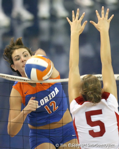 Florida sophomore setter/right-side hitter Kelly Murphy gets a kill during the third game of the Gators' 3-0 win against the UNLV Rebels on Friday, August 28, 2009 at the Stephen C. O'Connell Center in Gainesville, Fla / Gator Country photo by Tim Casey
