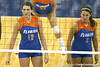 Florida sophomore setter/right-side hitter Kelly Murphy and junior setter Brynja Rodgers get ready for a serve during the third game of the Gators' 3-0 win against the UNLV Rebels on Friday, August 28, 2009 at the Stephen C. O'Connell Center in Gainesville, Fla / Gator Country photo by Tim Casey