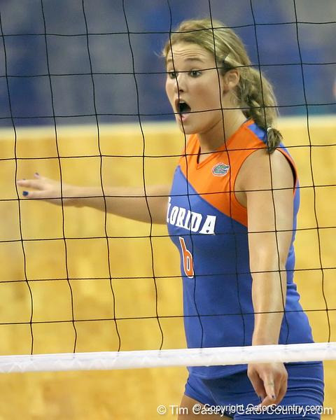 Florida redshirt sophomore outside hitter Kristy Jaeckel reacts after a point during the third game of the Gators' 3-0 win against the UNLV Rebels on Friday, August 28, 2009 at the Stephen C. O'Connell Center in Gainesville, Fla / Gator Country photo by Tim Casey