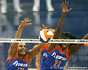 Florida junior right-side hitter Lauren Bledsoe and sophomore middle blocker Cassandra Anderson make a block during the third game of the Gators' 3-0 win against the UNLV Rebels on Friday, August 28, 2009 at the Stephen C. O'Connell Center in Gainesville, Fla / Gator Country photo by Tim Casey