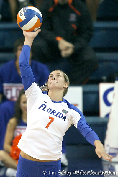 Florida senior libero Elyse Cusack serves during the third game of the Gators' 3-0 win against the UNLV Rebels on Friday, August 28, 2009 at the Stephen C. O'Connell Center in Gainesville, Fla / Gator Country photo by Tim Casey