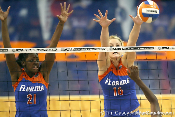 Florida sophomore middle blocker Cassandra Anderson and sophomore outside hitter Colleen Ward go up for a block during the third game of the Gators' 3-0 win against the UNLV Rebels on Friday, August 28, 2009 at the Stephen C. O'Connell Center in Gainesville, Fla / Gator Country photo by Tim Casey