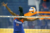 Florida sophomore middle blocker Cassandra Anderson avoids the ball during the third game of the Gators' 3-0 win against the UNLV Rebels on Friday, August 28, 2009 at the Stephen C. O'Connell Center in Gainesville, Fla / Gator Country photo by Tim Casey