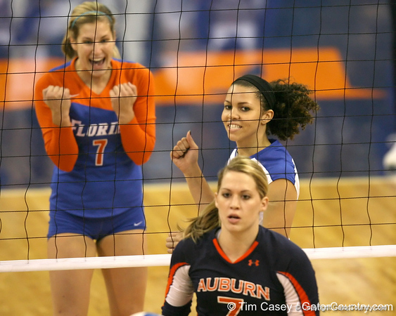 Florida junior outside hitter Callie Rivers celebrates after a point during the Gators' 3-0 win against the Auburn Tigers on Sunday, November 8, 2009 at the Stephen C. O'Connell Center in Gainesville, Fla. / Gator Country photo by Tim Casey