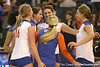 Florida redshirt-freshman middle blocker Betsy Smith and sophomore setter/right-side hitter Kelly Murphy celebrate after winning the Gators' 3-0 win against the Auburn Tigers on Sunday, November 8, 2009 at the Stephen C. O'Connell Center in Gainesville, Fla. / Gator Country photo by Tim Casey