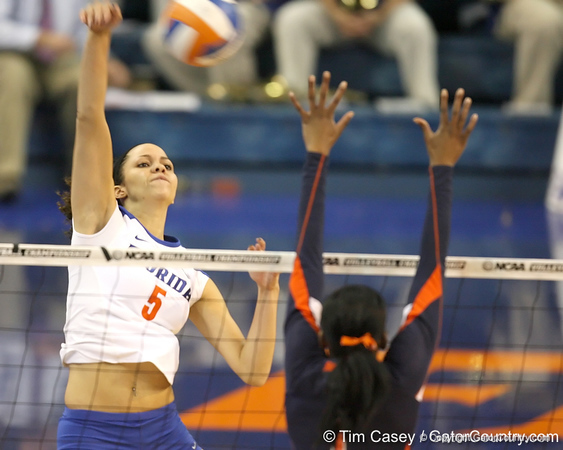 Florida junior outside hitter Callie Rivers makes an attack during the Gators' 3-0 win against the Auburn Tigers on Sunday, November 8, 2009 at the Stephen C. O'Connell Center in Gainesville, Fla. / Gator Country photo by Tim Casey