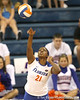 Florida sophomore middle blocker Cassandra Anderson serves during the Gators' 3-0 win against the Auburn Tigers on Sunday, November 8, 2009 at the Stephen C. O'Connell Center in Gainesville, Fla. / Gator Country photo by Tim Casey