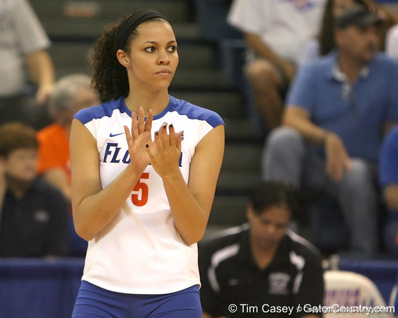 Florida junior outside hitter Callie Rivers celebrates a point during the Gators' 3-0 win against the Auburn Tigers on Sunday, November 8, 2009 at the Stephen C. O'Connell Center in Gainesville, Fla. / Gator Country photo by Tim Casey