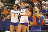Florida junior outside hitter Callie Rivers and redshirt-sophomore outside hitter Kristy Jaeckel celebrate a kill during the Gators' 3-0 win against the Auburn Tigers on Sunday, November 8, 2009 at the Stephen C. O'Connell Center in Gainesville, Fla. / Gator Country photo by Tim Casey
