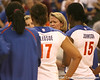 Florida volleyball head coach Mary Wise talks after the Gators' 3-0 win against the Auburn Tigers on Sunday, November 8, 2009 at the Stephen C. O'Connell Center in Gainesville, Fla. / Gator Country photo by Tim Casey