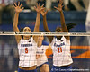 Florida junior outside hitter Callie Rivers and sophomore middle blocker Cassandra Anderson go up for a block during the Gators' 3-0 win against the Auburn Tigers on Sunday, November 8, 2009 at the Stephen C. O'Connell Center in Gainesville, Fla. / Gator Country photo by Tim Casey