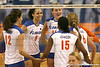 Florida junior outside hitter Callie Rivers and sophomore outside hitter Colleen Ward celebrate with teammates during the Gators' 3-0 win against the Auburn Tigers on Sunday, November 8, 2009 at the Stephen C. O'Connell Center in Gainesville, Fla. / Gator Country photo by Tim Casey