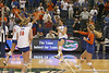 Florida junior outside hitter Callie Rivers and sophomore setter/right-side hitter Kelly Murphy celebrate after winning the Gators' 3-0 win against the Auburn Tigers on Sunday, November 8, 2009 at the Stephen C. O'Connell Center in Gainesville, Fla. / Gator Country photo by Tim Casey