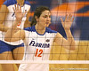 Florida sophomore setter/right-side hitter Kelly Murphy anticipates an attack during the Gators' 3-0 win against the Auburn Tigers on Sunday, November 8, 2009 at the Stephen C. O'Connell Center in Gainesville, Fla. / Gator Country photo by Tim Casey