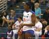 Florida sophomore middle blocker Cassandra Anderson anticipates a serve during the Gators' 3-0 win against the Auburn Tigers on Sunday, November 8, 2009 at the Stephen C. O'Connell Center in Gainesville, Fla. / Gator Country photo by Tim Casey