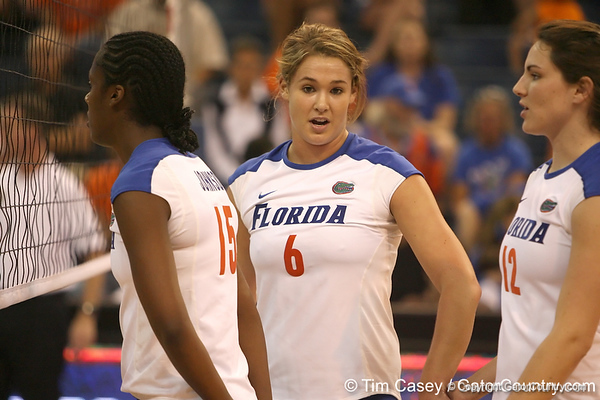 Florida redshirt-sophomore outside hitter Kristy Jaeckel gets in position during the Gators' 3-0 win against the Auburn Tigers on Sunday, November 8, 2009 at the Stephen C. O'Connell Center in Gainesville, Fla. / Gator Country photo by Tim Casey