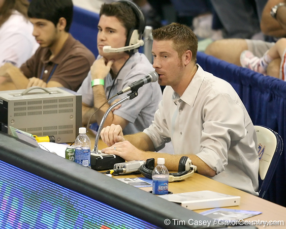 Jeff Cardozo makes a public address announcement during the Gators' 3-0 win against the Auburn Tigers on Sunday, November 8, 2009 at the Stephen C. O'Connell Center in Gainesville, Fla. / Gator Country photo by Tim Casey
