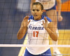 Florida junior right-side hitter Lauren Bledsoe anticipates an attack during the Gators' 3-0 win against the Auburn Tigers on Sunday, November 8, 2009 at the Stephen C. O'Connell Center in Gainesville, Fla. / Gator Country photo by Tim Casey