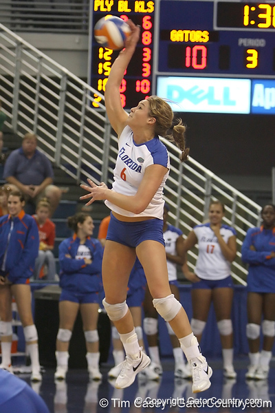 Florida redshirt-sophomore outside hitter Kristy Jaeckel serves during the Gators' 3-0 win against the Auburn Tigers on Sunday, November 8, 2009 at the Stephen C. O'Connell Center in Gainesville, Fla. / Gator Country photo by Tim Casey