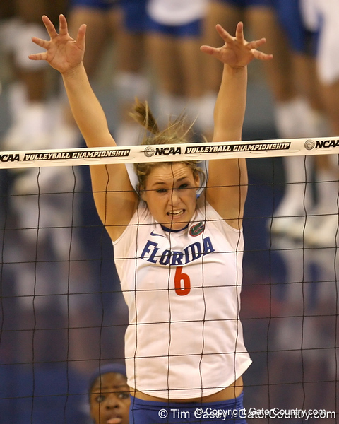 Florida redshirt-sophomore outside hitter Kristy Jaeckel goes up for a block during the Gators' 3-0 win against the Auburn Tigers on Sunday, November 8, 2009 at the Stephen C. O'Connell Center in Gainesville, Fla. / Gator Country photo by Tim Casey