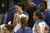 Florida junior outside hitter Callie Rivers listens during a huddle during the Gators' 3-0 win against the Auburn Tigers on Sunday, November 8, 2009 at the Stephen C. O'Connell Center in Gainesville, Fla. / Gator Country photo by Tim Casey