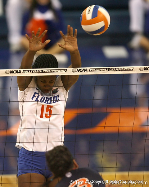 Florida redshirt senior outside hitter Kristina Johnson goes up for a block during the Gators' 3-0 win against the Auburn Tigers on Sunday, November 8, 2009 at the Stephen C. O'Connell Center in Gainesville, Fla. / Gator Country photo by Tim Casey