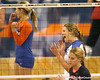 Florida redshirt-sophomore outside hitter Kristy Jaeckel celebrates after a kill during the Gators' 3-0 win against the Auburn Tigers on Sunday, November 8, 2009 at the Stephen C. O'Connell Center in Gainesville, Fla. / Gator Country photo by Tim Casey