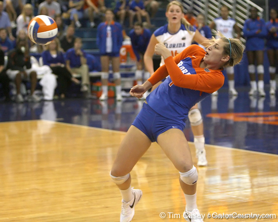 Florida senior libero Elyse Cusack tries to avoid an attack during the Gators' 3-0 win against the Auburn Tigers on Sunday, November 8, 2009 at the Stephen C. O'Connell Center in Gainesville, Fla. / Gator Country photo by Tim Casey