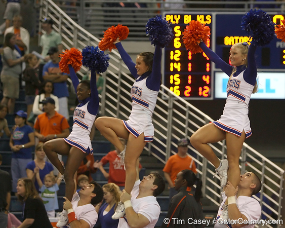 Florida cheerleaders perform after the Gators' 3-0 win against the Auburn Tigers on Sunday, November 8, 2009 at the Stephen C. O'Connell Center in Gainesville, Fla. / Gator Country photo by Tim Casey
