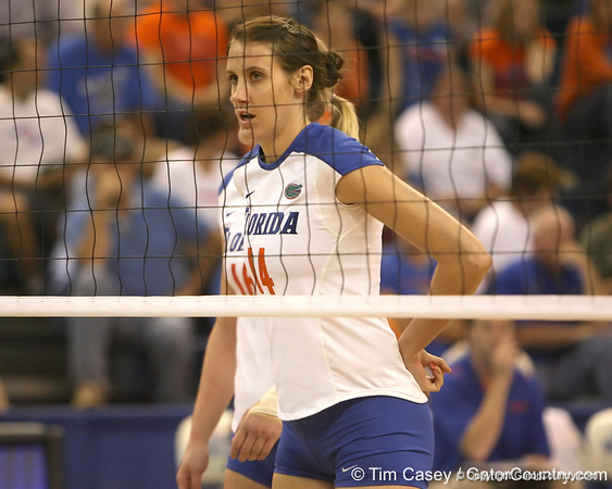 Florida redshirt-freshman middle blocker Betsy Smith awaits a serve during the Gators' 3-0 win against the Auburn Tigers on Sunday, November 8, 2009 at the Stephen C. O'Connell Center in Gainesville, Fla. / Gator Country photo by Tim Casey