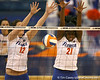 Florida sophomore middle blocker Cassandra Anderson blocks an attack during the Gators' 3-0 win against the Auburn Tigers on Sunday, November 8, 2009 at the Stephen C. O'Connell Center in Gainesville, Fla. / Gator Country photo by Tim Casey