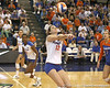Florida sophomore setter/right-side hitter Kelly Murphy makes an underhand pass during the Gators' 3-0 win against the Auburn Tigers on Sunday, November 8, 2009 at the Stephen C. O'Connell Center in Gainesville, Fla. / Gator Country photo by Tim Casey