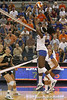 Florida sophomore middle blocker Cassandra Anderson makes a block during the Gators' 3-0 win against the Colorado Buffaloes on Saturday, August 29, 2009 at the Stephen C. O'Connell Center in Gainesville, Fla / Gator Country photo by Tim Casey