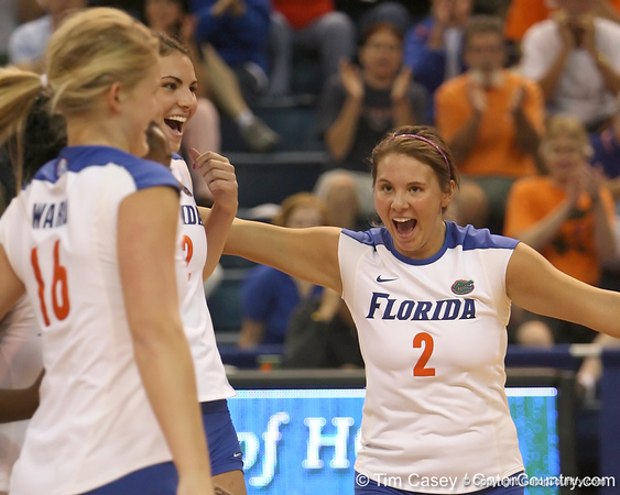 Florida junior setter Brynja Rodgers reacts after a point during the Gators' 3-0 win against the Colorado Buffaloes on Saturday, August 29, 2009 at the Stephen C. O'Connell Center in Gainesville, Fla / Gator Country photo by Tim Casey