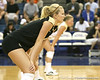 Colorado players await a serve during the Gators' 3-0 win against the Buffaloes on Saturday, August 29, 2009 at the Stephen C. O'Connell Center in Gainesville, Fla / Gator Country photo by Tim Casey
