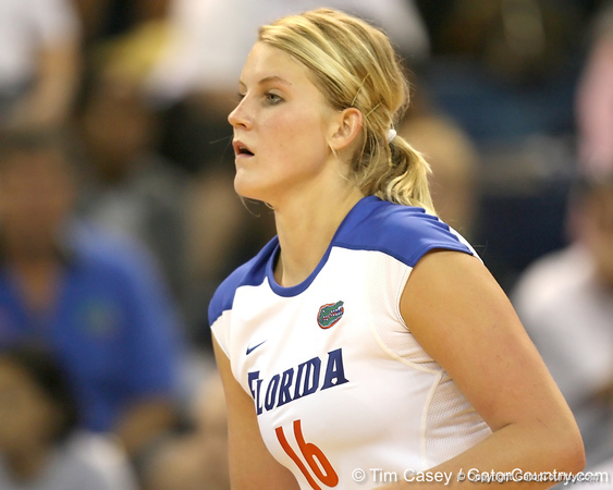 Florida sophomore outside hitter Colleen Ward awaits a serve during the Gators' 3-0 win against the Colorado Buffaloes on Saturday, August 29, 2009 at the Stephen C. O'Connell Center in Gainesville, Fla / Gator Country photo by Tim Casey