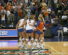 Florida's volleyball team celebrates after the Gators' 3-0 win against the Colorado Buffaloes on Saturday, August 29, 2009 at the Stephen C. O'Connell Center in Gainesville, Fla / Gator Country photo by Tim Casey
