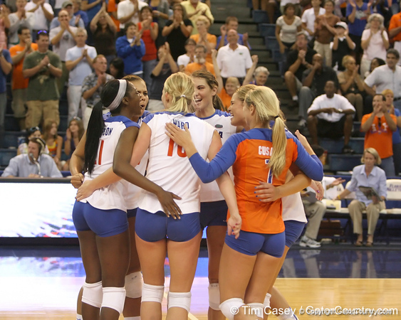 Florida celebrates after winning the first game during the Gators' 3-0 win against the Colorado Buffaloes on Saturday, August 29, 2009 at the Stephen C. O'Connell Center in Gainesville, Fla / Gator Country photo by Tim Casey