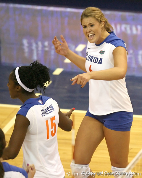 Florida redshirt sophomore outside hitter Kristy Jaeckel celebrates after a point during the Gators' 3-0 win against the Colorado Buffaloes on Saturday, August 29, 2009 at the Stephen C. O'Connell Center in Gainesville, Fla / Gator Country photo by Tim Casey