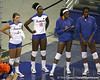 Florida junior setter Brynja Rodgers and Kristina Johnson watch from the sideline during the Gators' 3-0 win against the Colorado Buffaloes on Saturday, August 29, 2009 at the Stephen C. O'Connell Center in Gainesville, Fla / Gator Country photo by Tim Casey