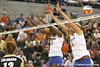 Florida redshirt senior outside hitter Kristina Johnson and sophomore outside hitter Colleen Ward go up for a block during the Gators' 3-0 win against the Colorado Buffaloes on Saturday, August 29, 2009 at the Stephen C. O'Connell Center in Gainesville, Fla / Gator Country photo by Tim Casey