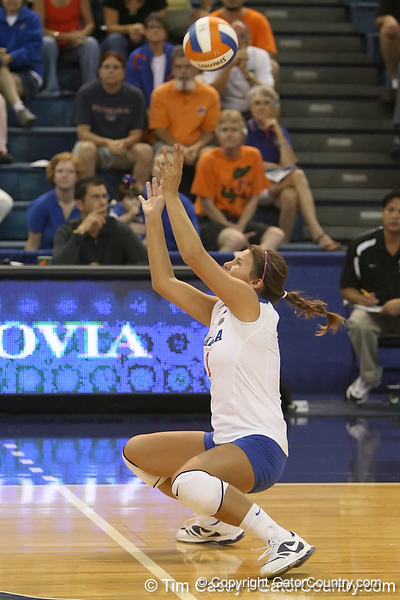 Florida junior setter Brynja Rodgers reaches for the ball during the Gators' 3-0 win against the Colorado Buffaloes on Saturday, August 29, 2009 at the Stephen C. O'Connell Center in Gainesville, Fla / Gator Country photo by Tim Casey