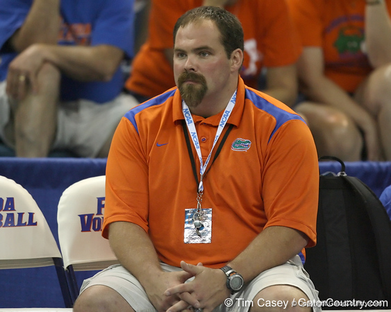 Florida strength and conditioning coach Matt DeLancey watches during the Gators' 3-0 win against the Colorado Buffaloes on Saturday, August 29, 2009 at the Stephen C. O'Connell Center in Gainesville, Fla / Gator Country photo by Tim Casey