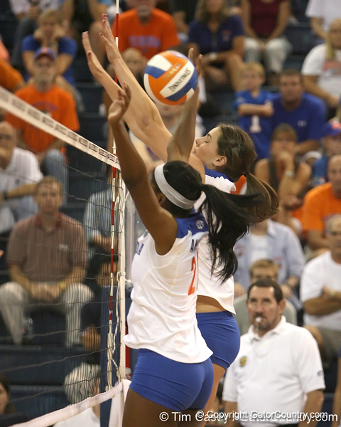Florida sophomore middle blocker Cassandra Anderson goes up for a block during the Gators' 3-0 win against the Colorado Buffaloes on Saturday, August 29, 2009 at the Stephen C. O'Connell Center in Gainesville, Fla / Gator Country photo by Tim Casey