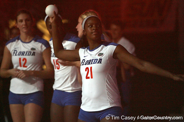 Florida sophomore middle blocker Cassandra Anderson throws a ball to fans during the Gators' 3-0 win against the Colorado Buffaloes on Saturday, August 29, 2009 at the Stephen C. O'Connell Center in Gainesville, Fla / Gator Country photo by Tim Casey