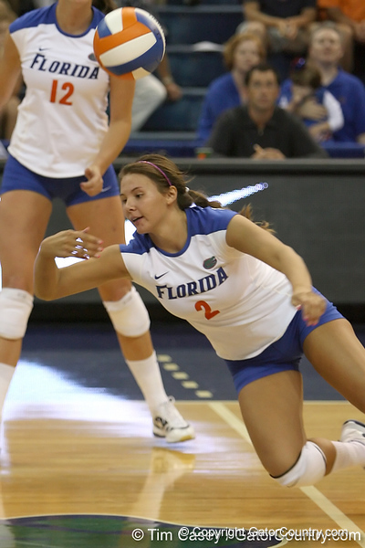 Florida junior setter Brynja Rodgers dives for the ball during the Gators' 3-0 win against the Colorado Buffaloes on Saturday, August 29, 2009 at the Stephen C. O'Connell Center in Gainesville, Fla / Gator Country photo by Tim Casey