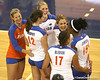 Florida redshirt sophomore outside hitter Kristy Jaeckel celebrates with teammates during the Gators' 3-0 win against the Colorado Buffaloes on Saturday, August 29, 2009 at the Stephen C. O'Connell Center in Gainesville, Fla / Gator Country photo by Tim Casey
