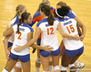 Florida junior setter Brynja Rodgers celebrates with teammates during the Gators' 3-0 win against the Colorado Buffaloes on Saturday, August 29, 2009 at the Stephen C. O'Connell Center in Gainesville, Fla / Gator Country photo by Tim Casey