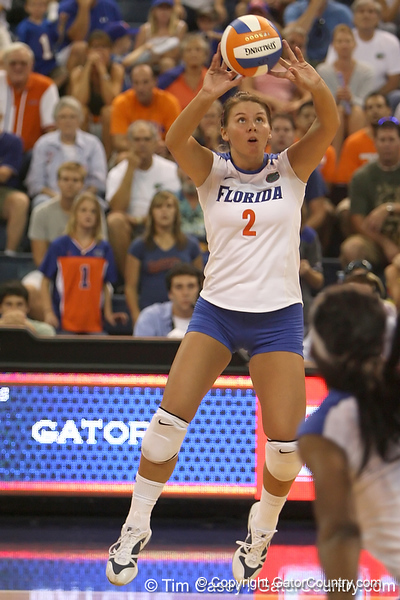 Florida junior setter Brynja Rodgers passes the ball during the Gators' 3-0 win against the Colorado Buffaloes on Saturday, August 29, 2009 at the Stephen C. O'Connell Center in Gainesville, Fla / Gator Country photo by Tim Casey