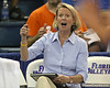 Florida volleyball coach Mary Wise calls out a play during the Gators' 3-0 win against the Colorado Buffaloes on Saturday, August 29, 2009 at the Stephen C. O'Connell Center in Gainesville, Fla / Gator Country photo by Tim Casey